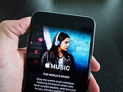 Homepage of Apple Music streaming service on an iPhone 6 Plus smart phone