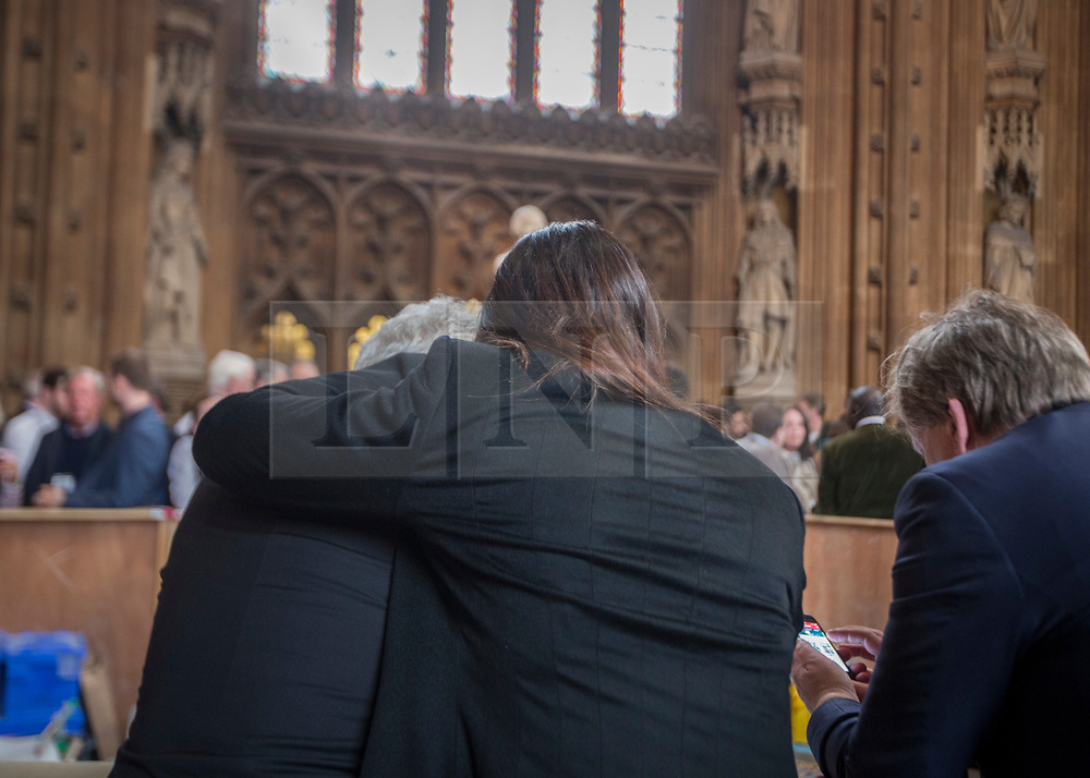 © Licensed to London News Pictures.22/03/2017. London, UK. MP's are seen in the Central Lobby  during a lockdown in Parliament after a terrorist attack in which a policeman and a woman have been killed.Photo credit: Alison Baskerville/LNP