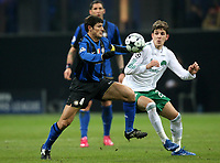 Fotball<br /> Frankrike<br /> Foto: DPPI/Digitalsport<br /> NORWAY ONLY<br /> <br /> FOOTBALL - CHAMPIONS LEAGUE 2008/2009 - GROUP STAGE - GROUP B - 26/11/2008 - INTER MILAN v PANATHINAIKOS FC - JAVIER ZANETTI (INT) / VANGELIS MANTZIOS (PAN)