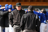 13 February 2015: Umpires Bryant Woodall (left) and Thomas Baldinelli (right). The University of North Carolina Tar Heels played the Seton Hall University Pirates in an NCAA Division I Men's baseball game at Boshamer Stadium in Chapel Hill, North Carolina. UNC won the game 7-1.