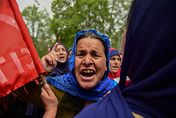 May 2, 2019 - Srinagar, Jammu and Kashmir, India - A daily employee of state government seen chanting slogans demanding job security and better pay during the anti government rally in Srinagar. (Credit Image: © Idrees Abbas/SOPA Images via ZUMA Wire)