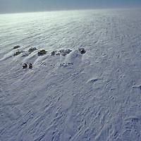 ANTARCTICA, South Pole Ski Expedition. Windy camp at 83 degrees south latitude on featureless polar plateau