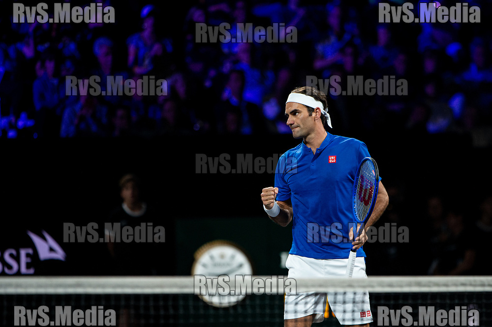 GENEVA, SWITZERLAND - SEPTEMBER 20: Roger Federer of Team Europe celebrates after point during Day 1 of the Laver Cup 2019 at Palexpo on September 20, 2019 in Geneva, Switzerland. The Laver Cup will see six players from the rest of the World competing against their counterparts from Europe. Team World is captained by John McEnroe and Team Europe is captained by Bjorn Borg. The tournament runs from September 20-22. (Photo by Robert Hradil/RvS.Media)