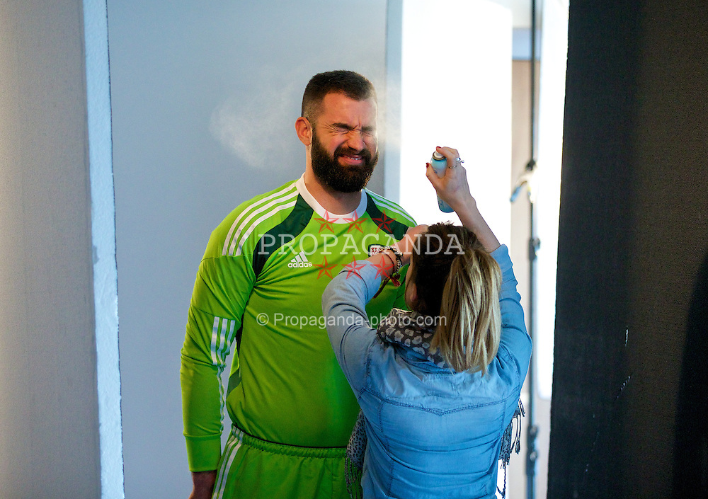 CARDIFF, WALES - Tuesday, March 4, 2014: Wales' goalkeeper Boaz Myhill during a promotional photo shoot at the St. David's Hotel ahead of the International Friendly against Iceland. (Pic by David Rawcliffe/Propaganda)