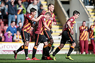 Bradford City players celebrate with Billy Clarke (Bradford City) as his goal, opens the scoring for the home team and they lead 1-0 during the EFL Sky Bet League 1 match between Bradford City and Walsall at the Coral Windows Stadium, Bradford, England on 1 April 2017. Photo by Mark P Doherty.