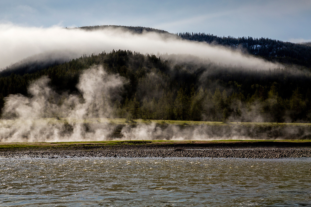Rising mist during Spring Sunrise on the Snake River near the South Entrance to Yellowstone National Park. Licensing and Open Edition Prints.