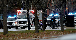 "November 19, 2018 - Chicago, Illinois, U.S. - An ambulance believed to be carrying an injured Chicago police officer departs Mercy Hospital. Authorities were reporting multiple victims in an ""active shooter"" attack at Mercy Hospital in the 2500 block of South Michigan Avenue on the Near South Side of Chicago. There were ""Reports of multiple victims"" in the attack, police spokesman Anthony Guglielmi said in a tweet. (Credit Image: © Zbigniew Bzdak/Chicago Tribune/TNS via ZUMA Wire)"
