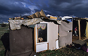 Roma squat in a disused industrial estate. Villeurbanne, Lyon France 2002