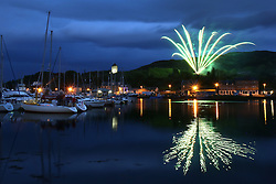 The Silvers Marine Scottish Series 2014, organised by the  Clyde Cruising Club,  celebrates it's 40th anniversary.<br /> <br /> Saturday night fireworks. <br /> <br /> Credit : Marc Turner / PFM