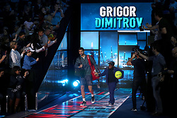 Grigor Dimitrov walks out to start his singles match during day four of the NITTO ATP World Tour Finals at the O2 Arena, London.