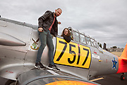 Showing off the Harvard to the event sound team at Warbirds Over the West.