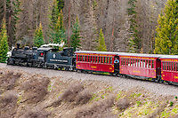 The Cumbres & Toltec Scenic Railroad train on the 64 mile run between Antonito, Colorado and Chama, New Mexico.  The narrow gauge track is 3 feet wide. Here it is passing over 10,015 ft (3,053 m) Cumbres Pass.