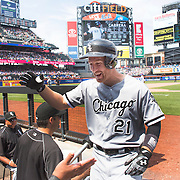 NEW YORK, NEW YORK - June 01:  Todd Frazier #21 of the Chicago White Sox is congratulates by team mates as he returns to the dugout after hitting a solo home run  during the Chicago White Sox  Vs New York Mets regular season MLB game at Citi Field on June 01, 2016 in New York City. (Photo by Tim Clayton/Corbis via Getty Images)