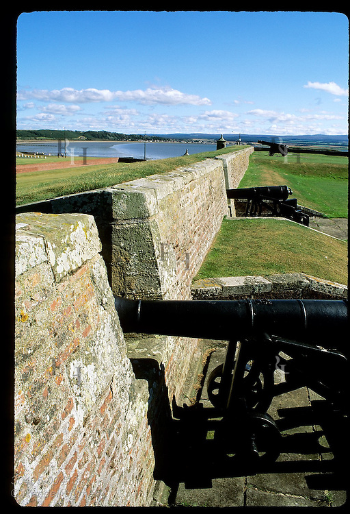 Cannons line ramparts inside Fort George, once one of Europe's finest forts, built after 1746 Jacobite defeat; Ardersier, Scotland.