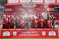 Football - NPower League 2 play-off final -  Cheltenham Town v Crewe Alexandra<br /> The Crewe Alexandra team sprays champagne in celebration at Wembley