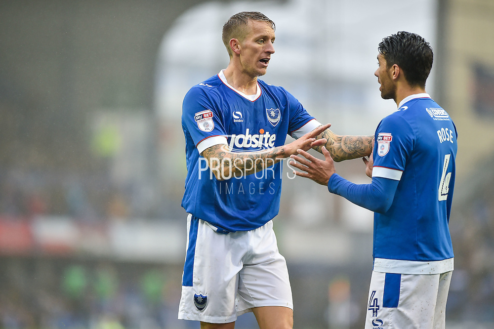 Portsmouth Midfielder, Carl Baker (7) and Portsmouth Midfielder, Danny Rose (4) during the EFL Sky Bet League 2 match between Portsmouth and Mansfield Town at Fratton Park, Portsmouth, England on 12 November 2016. Photo by Adam Rivers.