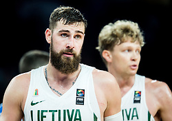 Jonas Valanciunas of Lithuania and Mindaugas Kuzminskas of Lithuania during basketball match between National Teams of Lithuania and Greece at Day 10 in Round of 16 of the FIBA EuroBasket 2017 at Sinan Erdem Dome in Istanbul, Turkey on September 9, 2017. Photo by Vid Ponikvar / Sportida