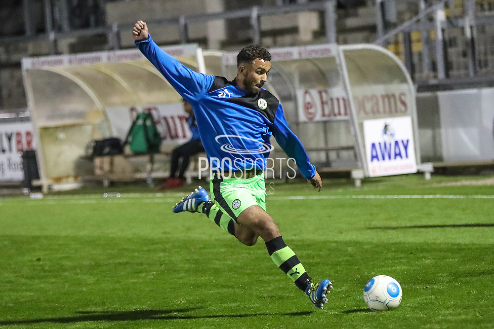 Forest Green Rovers Shubbs Kai(9) warming up during the The FA Youth Cup match between Bristol Rovers and Forest Green Rovers at the Memorial Stadium, Bristol, England on 2 November 2017. Photo by Shane Healey.