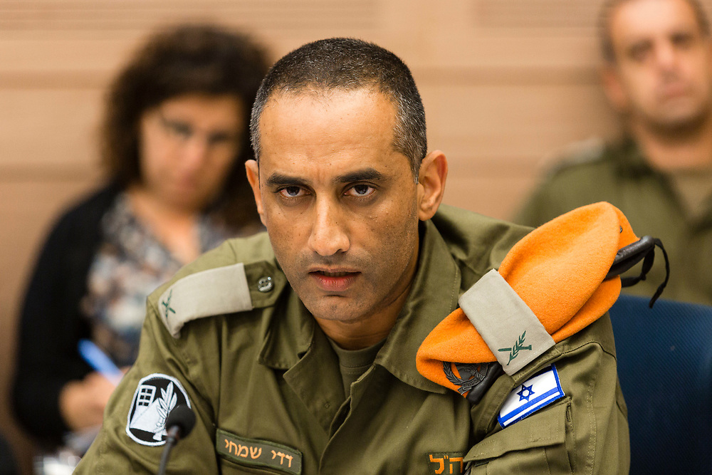 Head of the IDF Home Front Command, Brig. Gen. Dedy Simhi attends a session of the Foreign Affairs and Defense Committee at the Knesset, Israel's parliament in Jerusalem, on July 14, 2014.