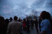 April 1, 2016; Indianapolis, Ind.; Megan Mullings watches the fireworks show at the Women's Final Four Salute at the Indianapolis Motor Speedway.