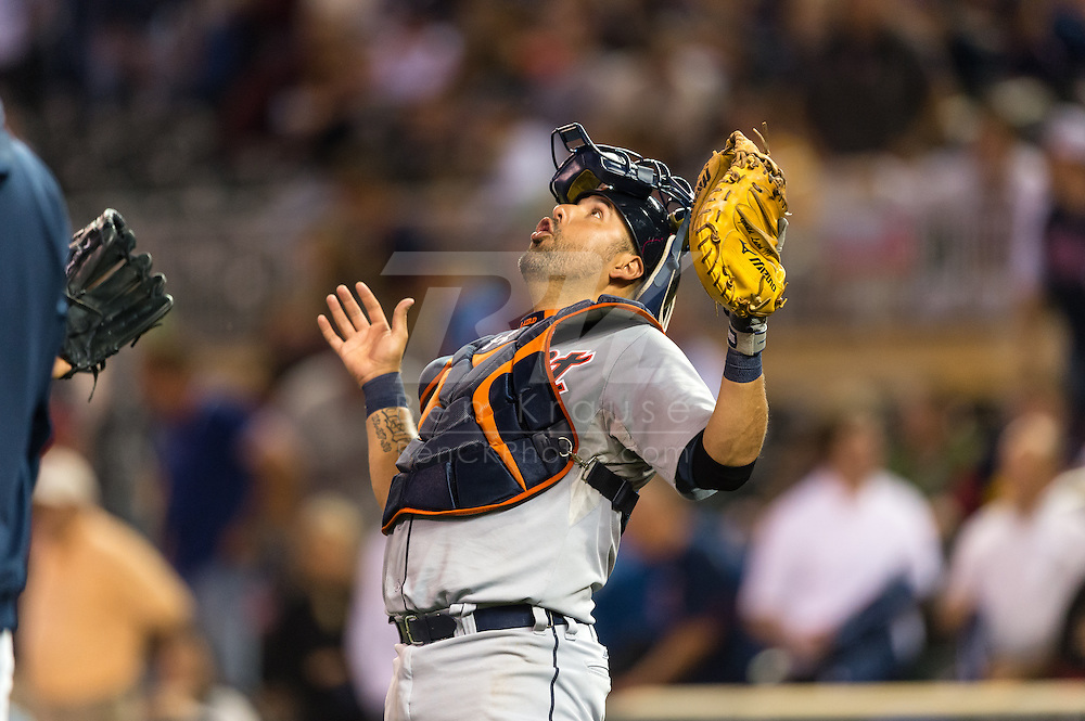 Gerald Laird (9) of the Detroit Tigers celebrates after the Tigers defeated the Minnesota Twins on August 14, 2012 at Target Field in Minneapolis, Minnesota.  The Tigers defeated the Twins 8 to 4.  Photo: Ben Krause
