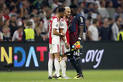 (L-R) Noussair Mazraoui of Ajax, Hakim Ziyech of Ajax, Ajax goalkeeper Andre Onana during the UEFA Champions League play offs round first leg match between Ajax Amsterdam and Dynamo Kyiv at the Johan Cruijff Arena on August 22, 2018 in Amsterdam, The Netherlands