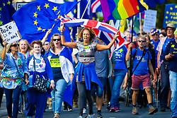 Hundreds of pro-EU protesters march past the Houses of Parliament in London as British Prime Minister loses his parliamentary majority with the defection of Philip Lee to the LibDems ahead of a crucial vote where MPs will attempt to seize control of the parliamentary agenda, in a bid to block a no-deal Brexit. London, September 03 2019.