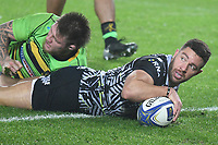 Rugby - 2017 / 2018 European Rugby Champions Cup - Pool Two: Ospreys vs. Northampton Saints<br /> <br /> Rhys Webb of Ospreys scores a try , at the Liberty Stadium.<br /> <br /> COLORSPORT/WINSTON BYNORTH