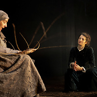 """Picture shows :  Wendy Seager as Sara  and Nora Wardell as Ellen (right).<br /> Bondagers <br /> By Sue Glover<br /> Directed by Lu Kemp<br /> """"Redd up the stables, muck out the byre, plant the tatties, howk the tatties, clamp the tatties... Shear, stook, striddle, stack. Women's work.""""<br /> A true classic of modern Scottish Theatre, and a haunting evocation of a lost way of life, Sue Glover's lyrical play with music and song follows six women land workers as they graft and dance their way through a year on a 19th Century Borders farm.<br /> Every ploughman had to provide a woman (a bondager) to work on the farm. If his wife was too busy with family, he hired a woman to work the fields and lodge in his home. Following these womenthrough the passing of the seasons, we feel the rhythm of the land and the harshness, humour, hope and tragedy of those who worked upon it.<br /> Picture : Drew Farrell<br /> Tel : 07721 -735041<br /> www.drewfarrell.com<br /> <br /> <br /> For Further information please contact Michelle Mangan Press and PR Manager, Royal Lyceum Theatre Edinburgh <br /> Main Line: 0131 248 4800
