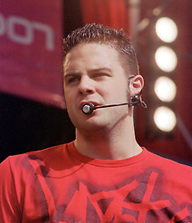 """Scott ( full name Scott James Tim Robinson) of the Boy band Five performing on stage at """" Feel The Noise"""". A Local Radio stations (Rock FM)  charity pop event which was held at Blackburn Rovers Football Ground Saturday 2nd June 2001."""