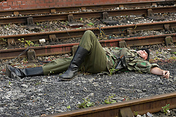 Reenactors portraying panzer grenadiers of the Großdeutschland Division take part in a battle reenactment during the Elsecar 1940's Weekend at Elsecar Heritage Centre 4 September 2010<br /> Images © Paul David Drabble