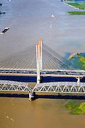 Nederland, Gelderland, Gemeente Zaltbommel, 27-05-2013; Martinus Nijhofbrug (A2) over de Waal bij Zaltbommel (in de achtergrond).<br /> Martinus Nijhof bridge crossing river Waal (Rhine) near Zaltbommel.<br /> luchtfoto (toeslag op standard tarieven)<br /> aerial photo (additional fee required)<br /> copyright foto/photo Siebe Swart
