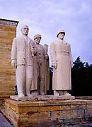 Turkish men sculpture, Anıtkabir memorial tomb mausoleum of Mustafa Kemal Atatürk, Turkey 1973