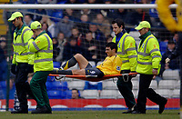 Photo: Glyn Thomas.<br />Birmingham City v Arsenal. The Barclays Premiership. 04/02/2006.<br />Arsenal's Jose Antonio Reyes is stretchered off apparently with an ankle injury, but moments later returns to the field.