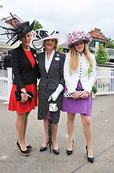 BARONESS SHACKLETON and her daughters Left, LYDIA SHACKLETON and right, CORDELIA SHACKLETON at day 2 of the 2011 Royal Ascot Racing festival at Ascot Racecourse, Ascot, Berkshire on 15th June 2011.