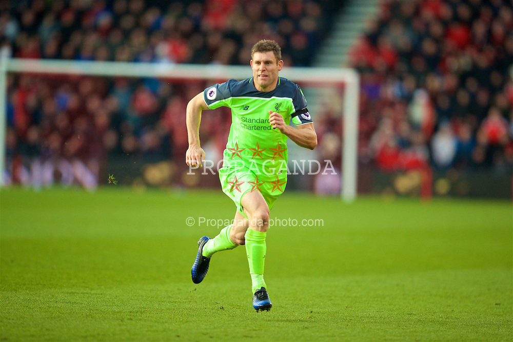 BOURNEMOUTH, ENGLAND - Sunday, December 4, 2016: Liverpool's James Milner in action against AFC Bournemouth during the FA Premier League match at Dean Court. (Pic by David Rawcliffe/Propaganda)