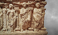 Roman relief sculpted sarcophagus of Domitias Julianus and Domita Philiska, 2nd century AD, Perge. Antalya Archaeology Museum, Turkey..<br /> <br /> If you prefer to buy from our ALAMY STOCK LIBRARY page at https://www.alamy.com/portfolio/paul-williams-funkystock/greco-roman-sculptures.html . Type -    Antalya    - into LOWER SEARCH WITHIN GALLERY box - Refine search by adding a subject, place, background colour, etc.<br /> <br /> Visit our ROMAN WORLD PHOTO COLLECTIONS for more photos to download or buy as wall art prints https://funkystock.photoshelter.com/gallery-collection/The-Romans-Art-Artefacts-Antiquities-Historic-Sites-Pictures-Images/C0000r2uLJJo9_s0