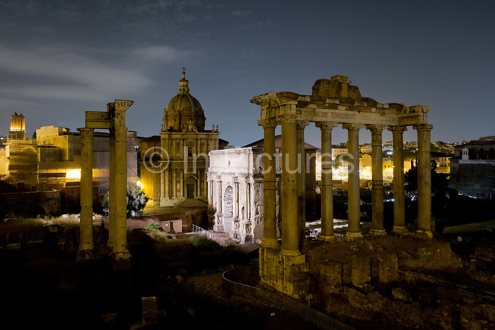 Night shot overview of the Roman Forum, Rome, Italy.