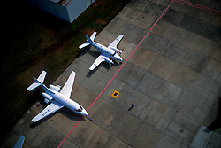 Aerial View of Private Planes on Ground at William P. Hobby Airport