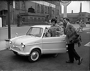 19/04/1960<br /> 04/19/1960<br /> 19 April 1960.<br /> Prinz car Special.<br /> Off on their honeymoon Steve Treacy and his bride Betty set off in their new Prinz at Reg Armstrong Motors, Ringsend, Dublin.NSU, The original Audi, Brittan Dublin Limited,