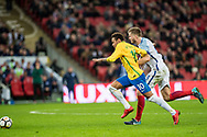 Brazil (10) Neymar, England (5) John Stones during the International Friendly match between England and Brazil at Wembley Stadium, London, England on 14 November 2017. Photo by Sebastian Frej.