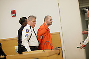 BROOKLYN, NY-- Maksim Gelman, 24, was led from the courtroom after being sentenced in Brooklyn Supreme Court on the afternoon of Wednesday, January 18, 2012.  Gelman pled guilty to attempted murder in connection with his attack on a subway passenger on February 12, 2011.  <br /> <br /> CREDIT: Andrew Hinderaker for the Wall Street Journal