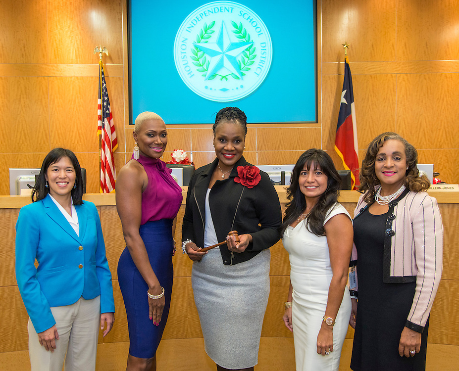 Anne Sung, Jolanda Jones, Wanda Adams, Diana Davila and Rhonda Skillern-Jones pose for a photograph after being named new officers during a meeting of the Houston ISD Board of Trustees, January 12, 2017.