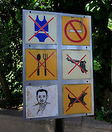Sign at the Church of the Visitation in Ein Kerem in the Western part of Jesusalem.<br /> Photo by Dennis Brack