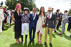 29 July 2021 - The QATAR Goodwood Festival Ladies Day at Goodwood Racecourse, West Sussex.<br /> Picture Shows - Frankie & Catherine Dettori with their children, Leo Dettori, Mia Dettori and Ella Dettori.<br /> <br /> NON EXCLUSIVE - WORLD RIGHTS