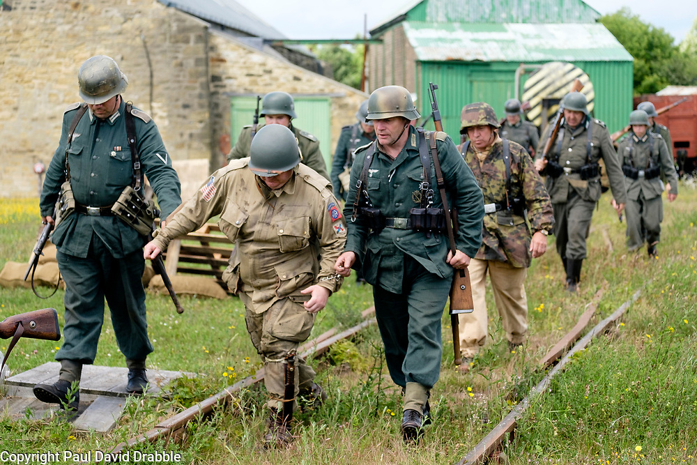 Bowes Railway Springwell Village 1940s weekend German troops capture a US Paratrooper<br /> <br />  Copyright Paul David Drabble<br />  30 June 2019<br />  www.pauldaviddrabble.co.uk