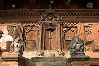 Newar architecture is found in the Kathmandu Valley which consists of both Hindu and Buddhist monuments.  Woodwork in Nepal has been flourishing for centuries.  Many of the original woodworks were destroyed during disasters such as fires, earthquakes, and foreign invasions and then rebuilt. From the start of the Malla period woodcraft along with architecture started to thrive and reached its pinnacle when the Valley was divided into three Kingdoms. As the three kings competed to improve the magnificence of their palaces, more beautiful crafts were created to outdo the others. During and after the Malla period, the houses built in Kathmandu and Patan used wood as a very important material - wood was almost exclusively used for doors, windows and pillars.