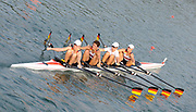 Shunyi, CHINA.   GER W4X, Women's quads  move under the bridge to the start, for their Repechage, at the 2008 Olympic Regatta, Shunyi Rowing Course. Tuesday 12.08.2008  [Mandatory Credit: Peter SPURRIER, Intersport Images]