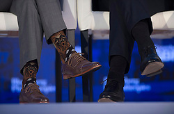Canadian Prime Minister Justin Trudeau wears a pair of socks with the Star Wars character Chewbacca as he sits next to Dutch Prime Minister Mark Rutte during a panel discussion at the Bloomberg Global Business Forum in New York, Wednesday, September 20, 2017. Photo by Adrian Wyld/Canadian Press/ABACAPRESS.COM  | 607887_010 New York City Etats-Unis United States