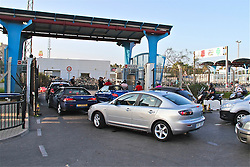 © Licensed to London News Pictures. File pic dated 13th Aug 2013. Tourists and workers queued up at the Gibraltar border. Checks by Spain at its border with Gibraltar did not break EU laws, the European Commission has ruled. Photo credit : Donovan Torres/LNP